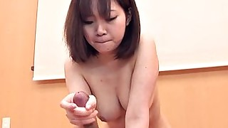 schoolgirl japanese handjob hairy brunette blowjob ass